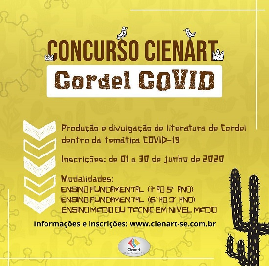 Concurso literário Cordel Covid inscrições abertas